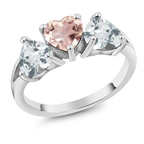 - Gem Stone King 2.04 Ct Heart Shape Rose Rose Quartz Sky Blue Aquamarine 925 Silver 3-Stone Ring (Size 9)