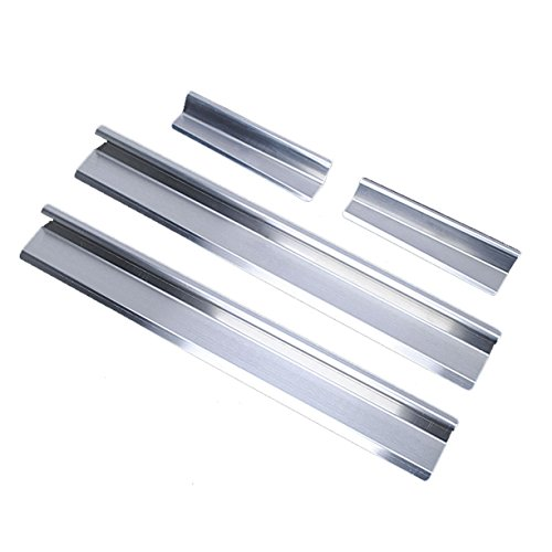 VXAR Door Sill Protector Entry Guard Stainless Steel Scuff Plate for 2007-2017 Jeep Wrangler JK (Silver 4Pcs) Chrome Logo Door Sills