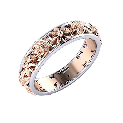Gahrchian Sterling Silver Ring Plated Gold Ring Ring for Couple Two Rose Women Ring Band Earring Necklace Ring (9, Multicolor)