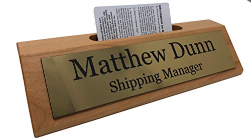 (Personalized Business Desk Name Plate with Card Holder - Made in America (Cherry w/Gold))