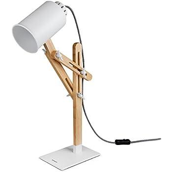 Tomons Led Desk Lamp Wooden Multi-Angle Swing Arm Designer Table Office LED Lamp Bedside Nightstand Reading Study Work Lamp Light - White