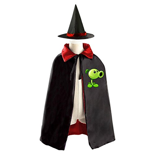 Plants Vs Zombies Cattail Costume (Peashooter Gallery Plants vs. Zombies Halloween Wizard Witch Kids Cape With Hat Party Cloak)