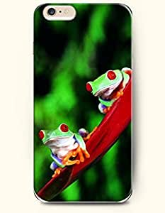 iPhone 6 Plus Case 5.5 Inches Two Lovely Green Frogs - Hard Back Plastic Case OOFIT Authentic by icecream design