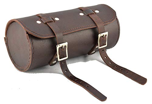 (HERTE Genuine Leather Bicycle Round Saddle Bag Utility Tool Bag Chery Brown)