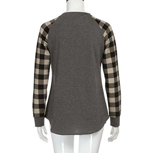 Amlaiworld Damen sommer Frühling bunt Karomuster shirt mode strand Tops Baumwolle locker sport Bluse für Mädchen basic Flickwerk Oberteile Grau