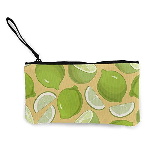 (Coin Purse Green Lemon Men Zip Canvas Wallets ChangeAmazing)