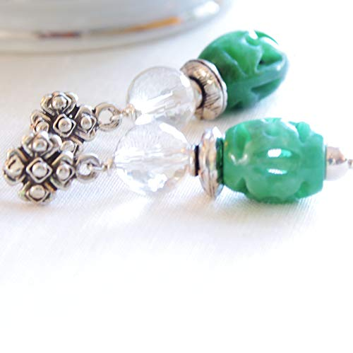 - Green Jade Earrings Quartz Gemstone Bali Bead Post Dangle 35th Anniversary