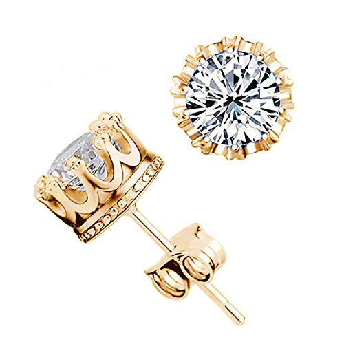 Wholesale Fashion Crown Gold Color Earrings Crystal Jewelry Double Stud Earing,Apt
