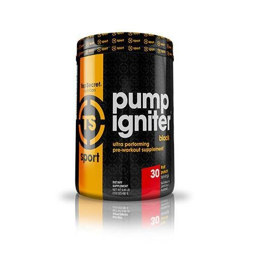 Top Secret Nutrition Pump Igniter Black Pre-Workout Supplement with Beta-Alanine, L-Citrulline, and Hydromax, Net Wt. 0.