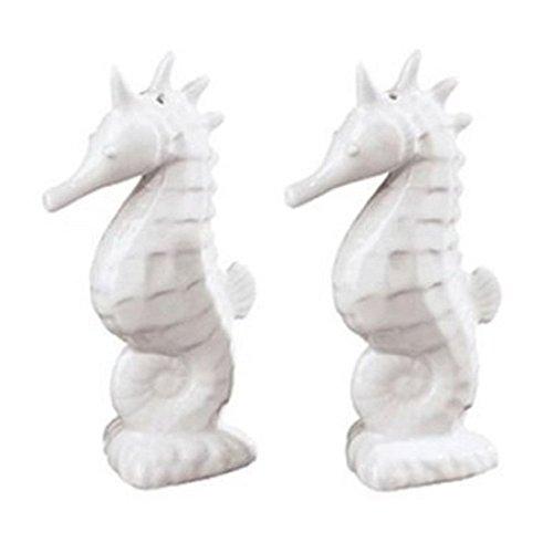 Sadek White Seahorse Porcelain Salt and Pepper Shaker Set 20052 4.5 Inches