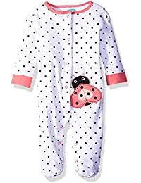 Baby Girls' Footed Snap Front Coverall With Applique