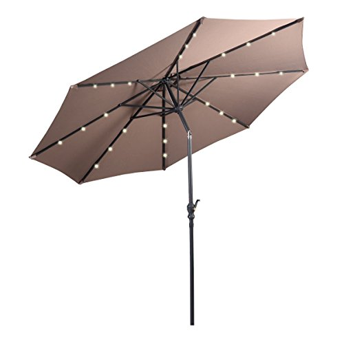 Giantex 10ft Patio Solar Umbrella LED Patio Market Steel Tilt w/ Crank Outdoor (Tan)