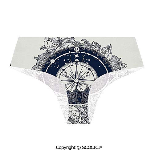 SCOCICI Breathable Panties Antique Marine Compass and Special Briefs for Lady