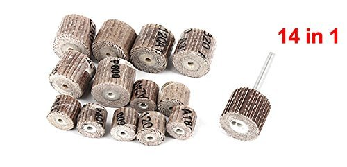 DealMux 14 in 1 Emery Cloth 7 Types Cylindrical Shape Grit Grinding Flap Wheel