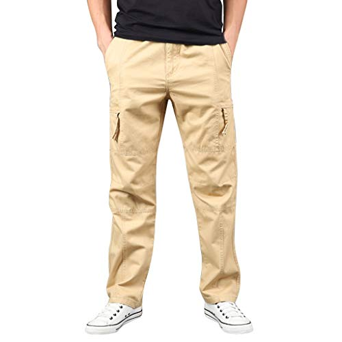 LUCAMORE Men's Casual Solid Outdoor Pants Straight Leg Sports Multi-Pockets Cargo Pants Khaki