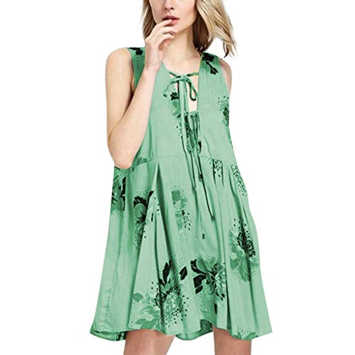 HebeTop ✰ Women's Summer Casual Sleeveless Floral Printed Off Shoulder- Knee Length Casual Party Dress Sundress Green