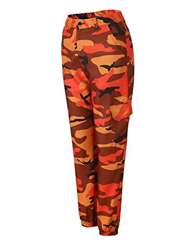 Naranja Mujer Aire Con Bolsillo De Múltiples Al Jóvenes Pantalones Casual Jeans Camuflaje Libre Para Ropa Deportivo wYnFZnqU