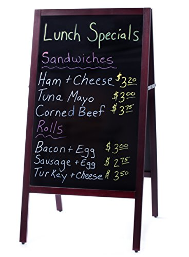Sandwich Board Standing Chalkboard Sign | Large Sidewalk Dry Erase Chalk Board Menu with Markers and Eraser. Freestanding Outdoor A Frame Stand Display Blackboard for Business, Restaurants or Wedding