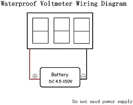 motorcycle voltmeter wiring diagram amazon com waterproof monitor dc 4 5 150v 12 24 36 48v volt  amazon com waterproof monitor dc 4 5