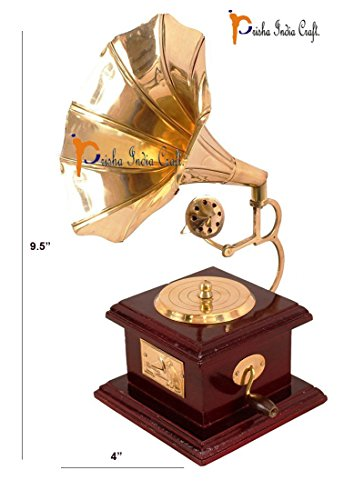 "Prisha India Craft 9.5"" X 4.0"" Handmade Vintage Dummy Gramophone Showpiece Only for Home Décor | Decorative Home Hotel Restaurant | Antique Showpiece Gift Item"
