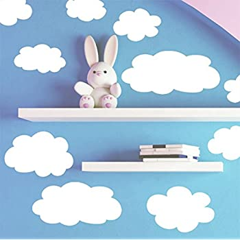 Amazon.com: Create-A-Mural Fluffy Cloud Wall Decals -Baby Nursery ...