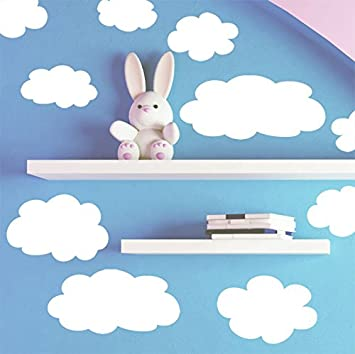 Amazoncom CreateAMural Fluffy Cloud Wall Decals Baby Nursery - Nursery wall decals clouds
