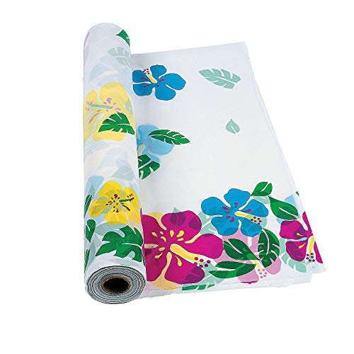 Fun Express - Hibiscus Printed Banquet Roll for Summer - Party Supplies - Table Covers - Print Table Rolls - Summer - 1 Piece