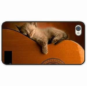iPhone 4 4S Black Hardshell Case kitten guitar sleep Black Desin Images Protector Back Cover