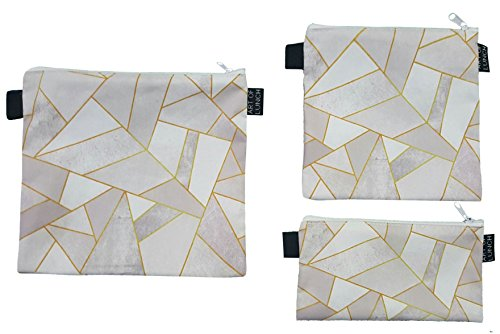 Art of Lunch Designer Lunch Baggies for Men & Women, Boys & Girls, Fashionable, Reusable, Snack & Sandwich Bags w Zipper - Design by Elisabeth Fredriksson (Sweden) - White Stone