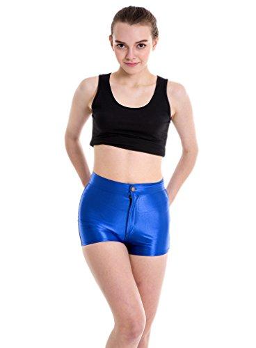 Yomsong Women's High Waist Shiny Satin Sexy Disco Short Pants 9 Colors(medium, royal blue) ()