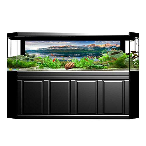 - Jiahong Pan Decorative Aquarium Background Poster Sunny Morning on The Austrian Alps Crystal Mirroring Water Fairy Season Aquarium Sticker Wallpaper Decoration L29.5 x H21.6