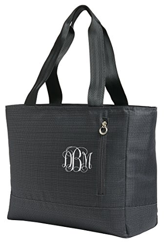 Personalized Black Ladies Laptop Tote with Embroidered Vine Monogram