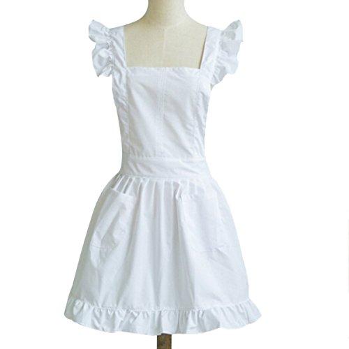 TININNA Damen Frauen Vintage Dienstmädchen Baumwolltuch Schürze Kochschürze Küchenschürze Latzschürze weiß
