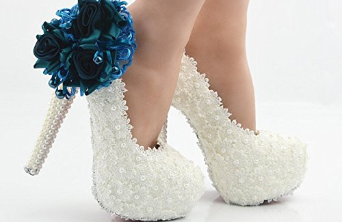 YCMDM scarpe da sposa scarpe da sposa tacco alto pizzo bianco Treasure Blu Fiore impermeabile SCARPE DONNA grandi cantieri 43 iarde 44 yarde 45 Yards , 14 cm with high reservation , 41