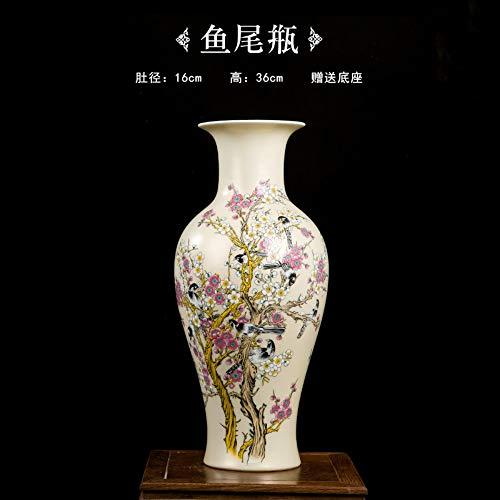 Decorative Vases for Living Room Table,Handmade Vintage Chinese Ceramic Beige Fish Shaped Vase for Home Decor,Hand Painted Colorful Birds and Flowers,Modern Elegant China Porcelain Artwork