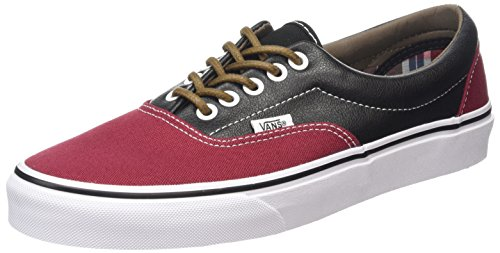 VANS UNISEX ERA (LEATHER/PLAID) SKATE SHOES (7.5 B(M) US Women / 6 D(M) US Men, RHUBARB/BLACK)