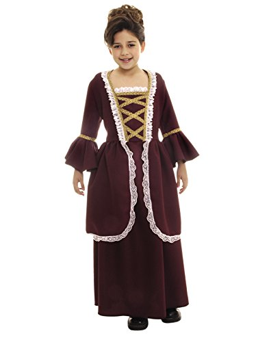 Colonial Fancy Dress Costumes (Colonial Girl Child Costume - Large)