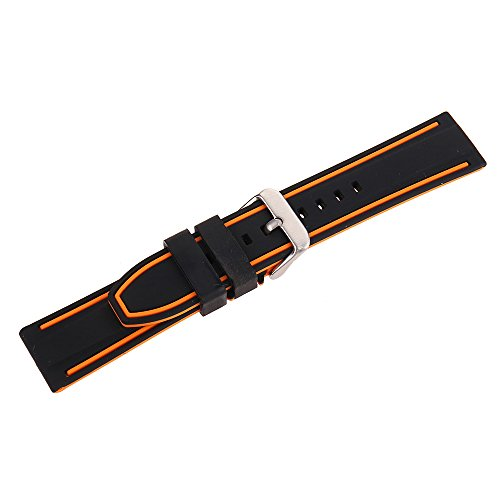 EACHE Silicone Watch Strap Rubber Replacement Diver Sport Waterproof Watch Band Black Orange Silver Buckle 20mm by EACHE (Image #3)