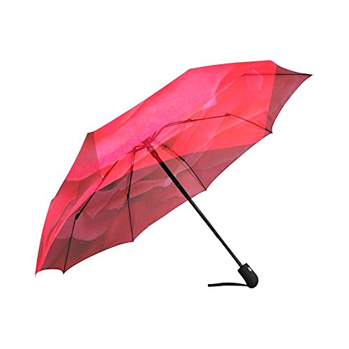 InterestPrint Beautiful Romantic Rose Windproof Automatic Open And Close Folding Umbrella,Girly Flower Travel Lightweight Outdoor Umbrella Rain And Sun,Red by InterestPrint (Image #2)