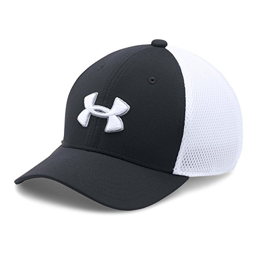 Under Armour Boys' Classic Mesh Golf Cap, Black (001)/White, Youth Small/Medium