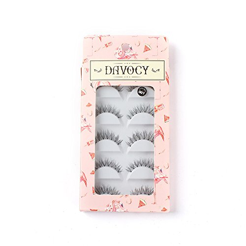 Davocy Multipack Demi Wispies Fake Eyelashes Handmade Natural Cross False lashes Volume and Reusable.(1 Pack 5 Pairs)