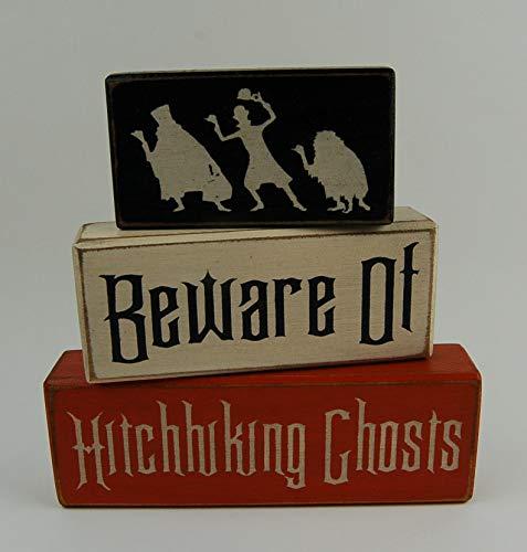 Beware Of Hitchhiking Ghosts-Disney Haunted Mansion-Primitive Wood Sign Shelf Stacking Blocks
