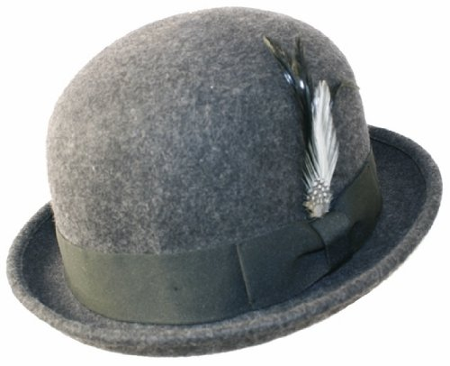 a29418acbf8de Amazon.com   Man Classic 100 % Wool Felt Crushable Soft Winter Derby  Vintage Bowler Cloche Cute Cap Shape Feather Fedora Hat Upturn Brim Black  Brown Grey ...