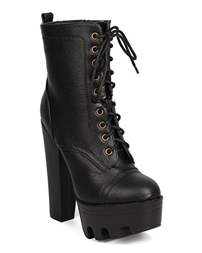 [Women Leatherette Lug Sole Block Heel Bootie - Cosplay, Party, Costume - Platform Lace Up Boot - GC94 By Wild Diva - Black (Size:] (Halloween Costumes Platform Shoes)