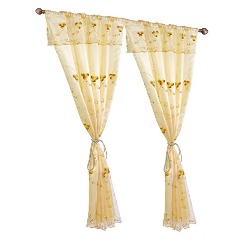 Fringe Panel (Curtains Panels, Double Layers Drape Curtains Embroidered Window Treatment Drapes, Fringe Beige Curtains for Living Room)