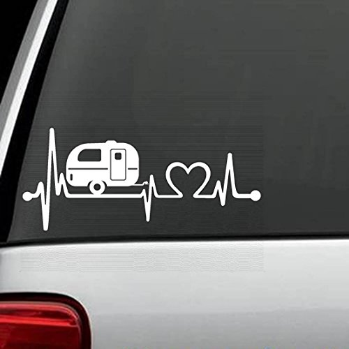 F1026 Camper Travel Trailer Heartbeat Lifeline Decal Sticker Camping Travel Trailers