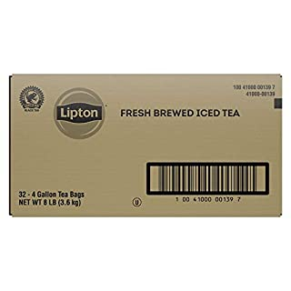 Lipton Black Iced Tea Bags Unsweetened Made With Tea Leaves Sourced From Rainforest Alliance Certified Farms, 4 gallon, Pack Of 32