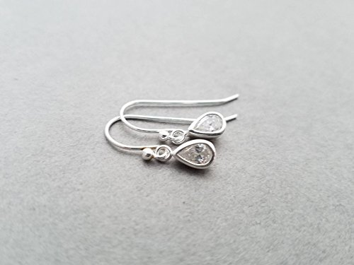 Tiny sterling silver earrings- teardrop CZ crystal, clear, leverback or french wire