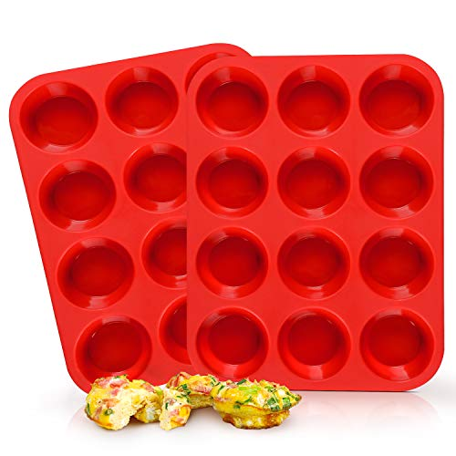 SJ Silicone Muffin Pan Set - Regular 12 Cups Muffin Molds, Non-stick BPA Free Best Food Grade Silicone Molds, Pack of 2