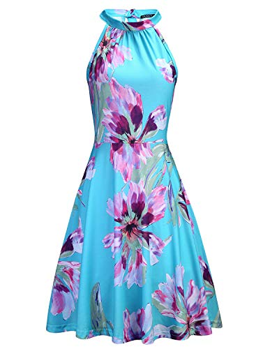 OUGES Women's Halter Neck Floral Summer Casual Sundress(Floral-04,XL) (Best Dresses For A Summer Wedding Guest)
